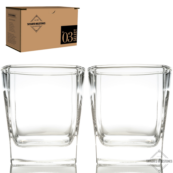 "Taylor'd Milestones ""No.3 Select"" 10.5 oz Whiskey / Scotch Glasses. ~ 2 piece gift set"