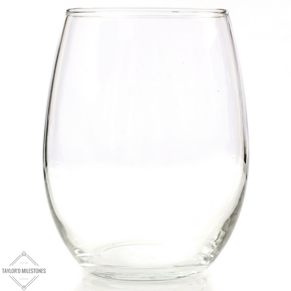 Taylor'd Milestones Modern 21 oz Stemless Wine Glasses. ~ 4 Piece Gift Set.