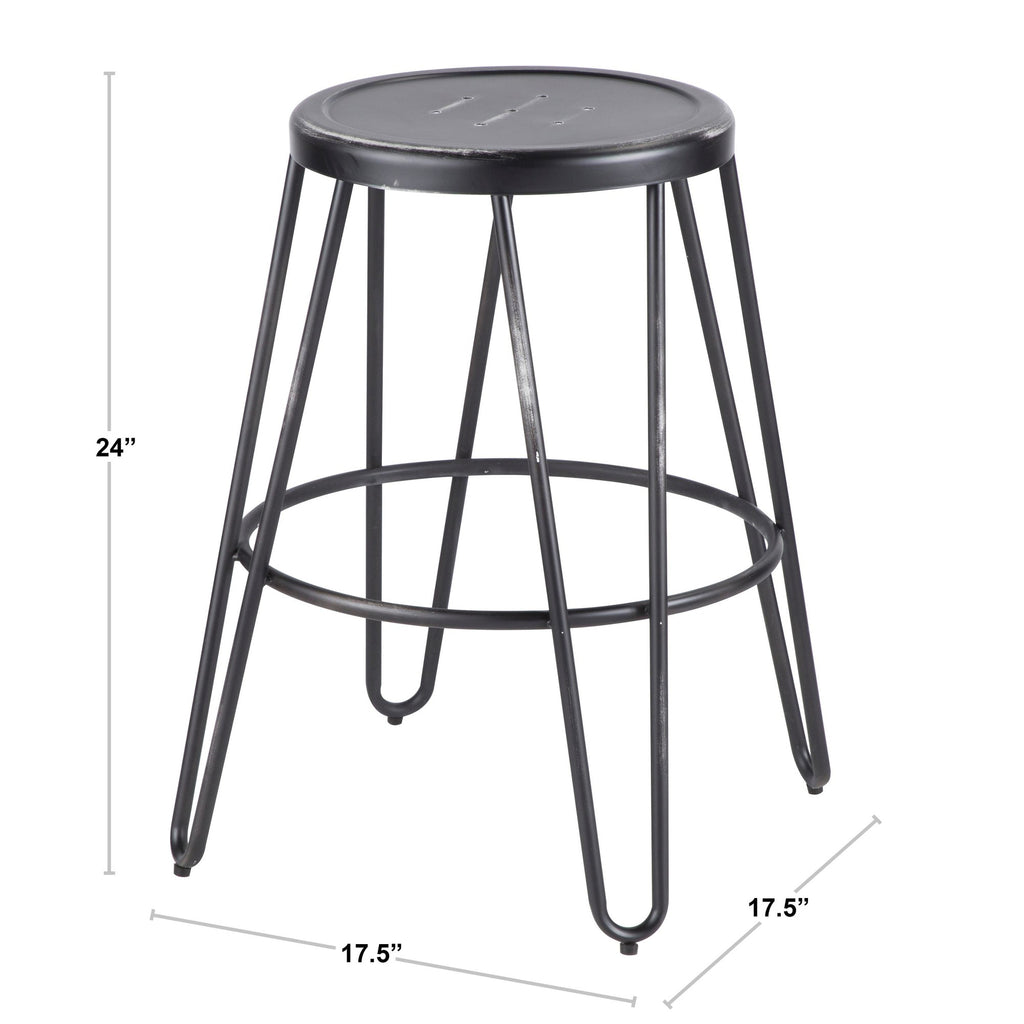 Miraculous Avery Industrial Metal Counter Stool In Vintage Black Or Brushed Stainless Steel Set Of 2 Pabps2019 Chair Design Images Pabps2019Com
