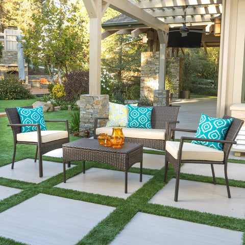 4pc Outdoor Wicker Sofa Set W/ Cushions