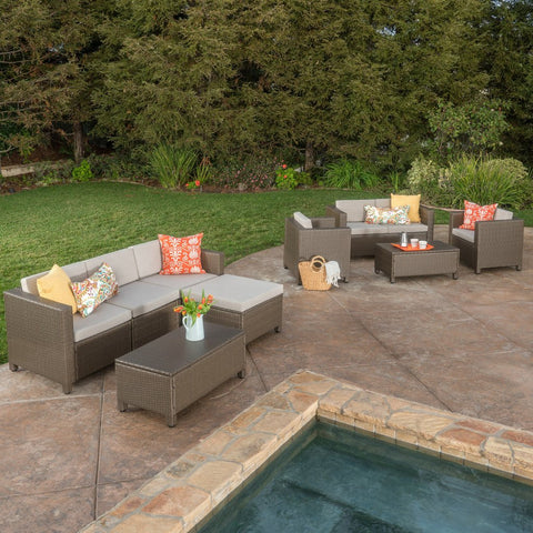 9pc Outdoor Wicker Sectional Sofa Set W/ Cushions