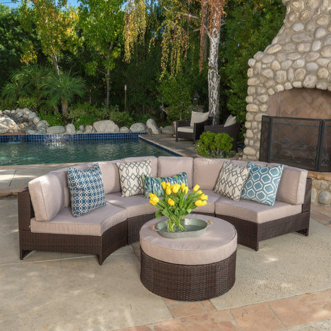 5pc Outdoor Sectional Sofa Set in Beige, Blue
