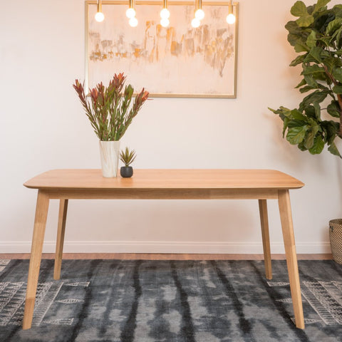 Natural Oak Finish Wood Dining Table