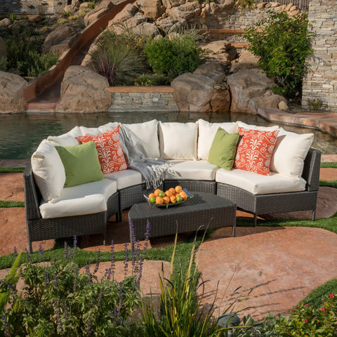 5pc Outdoor Wicker Sectional Set W/ Cushions