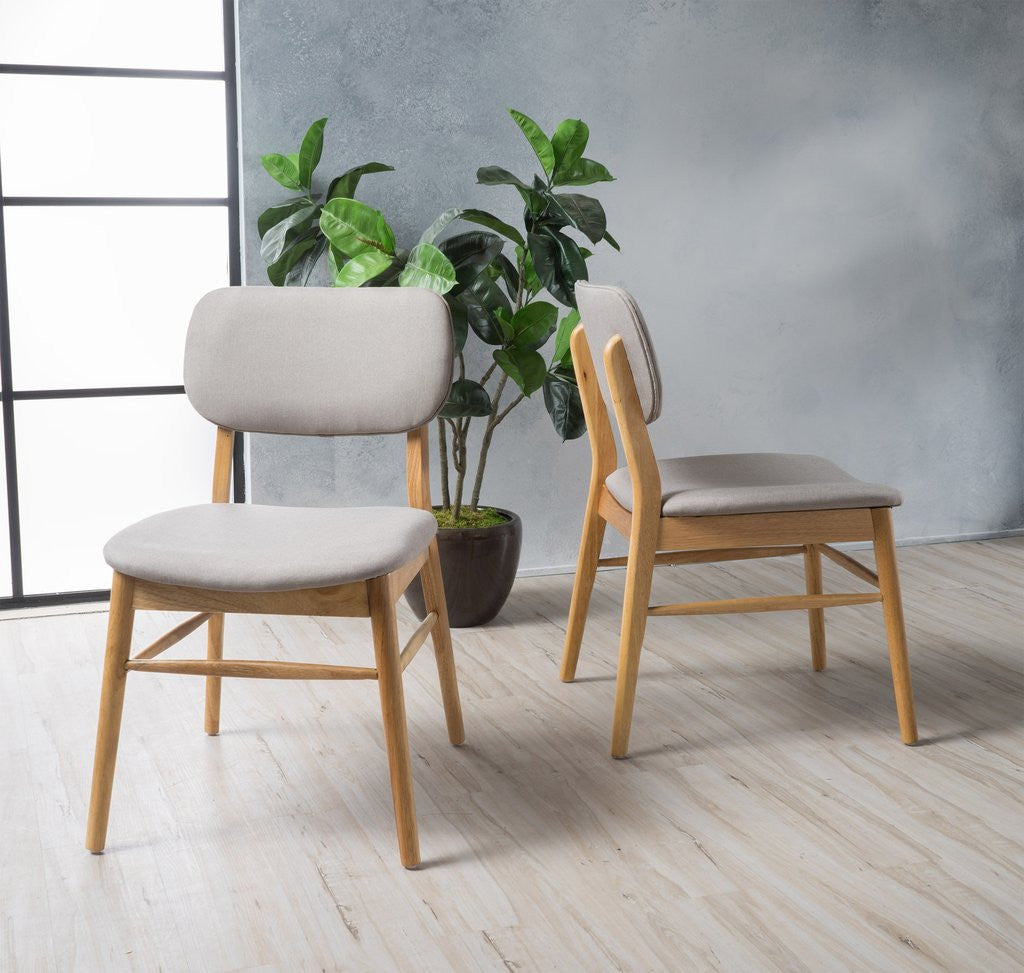 Baywood Mid Century Walnut or Oak Finish Dining Chairs (Set Of 2) in Light or Dark Grey