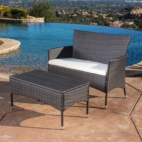 2pc Outdoor Brown Love Seat & Table Set