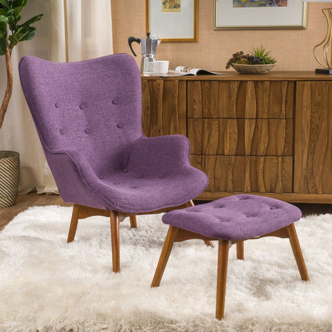 Barker Fabric Contour Chair and Ottoman in Many Color Options