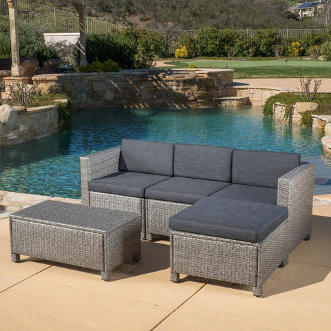 5pc Outdoor Wicker Sectional Sofa Set W/ Cushions
