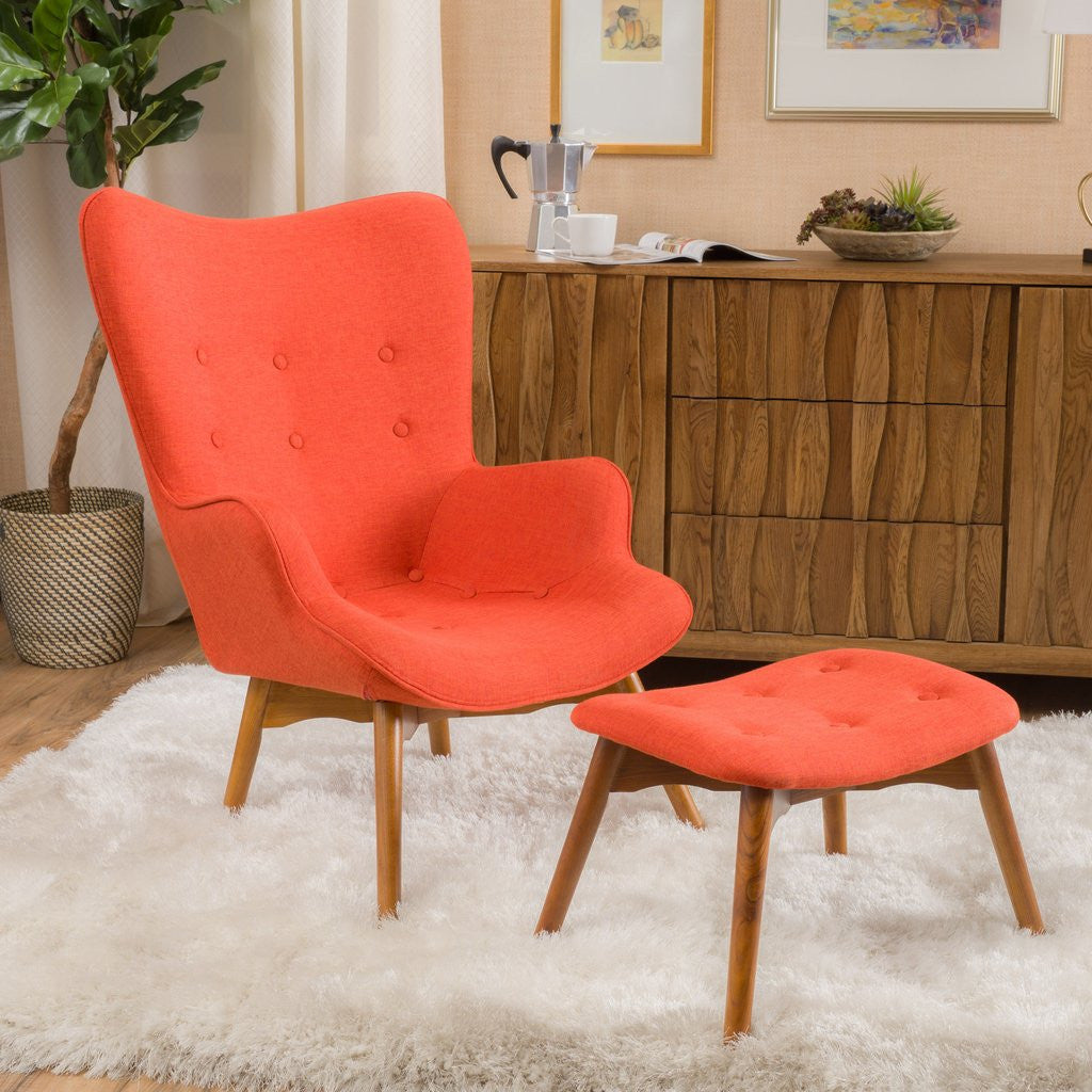 ... Barker Fabric Contour Chair And Ottoman In Many Color Options ...