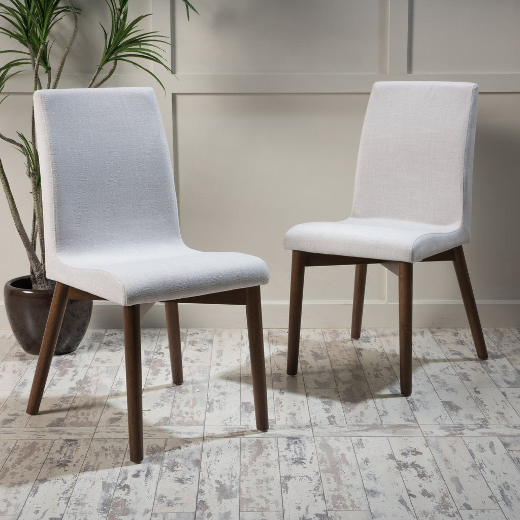 abigail upholstered dining chairs set of 2 in walnut finish legs