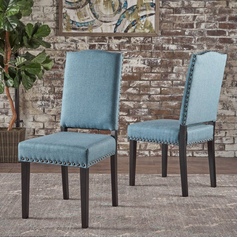 Armless Studded Blue Fabric Dining Chairs (Set Of 2) in