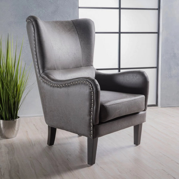 Dixon Microfiber Wingback Armchair in Many Colors