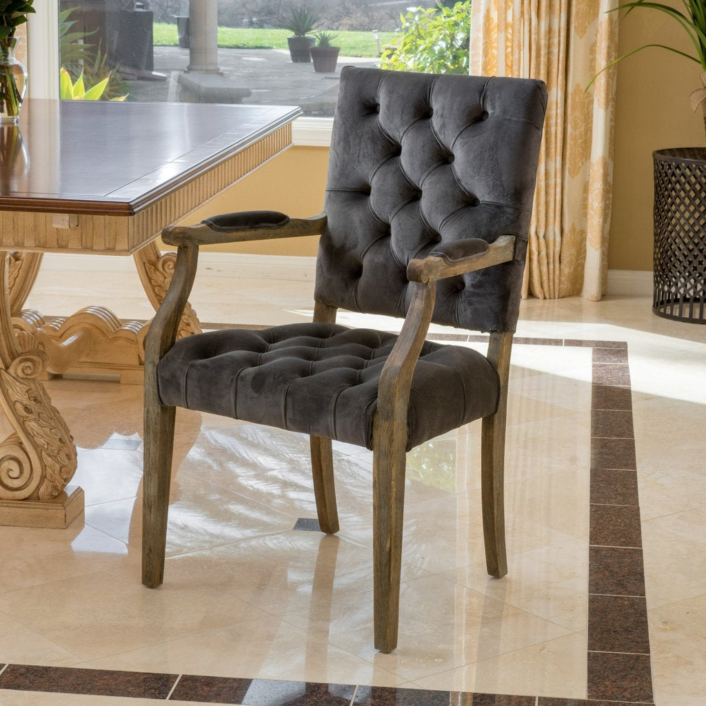 Burns French Design Upholstered Dining Chair in Black or Charcoal