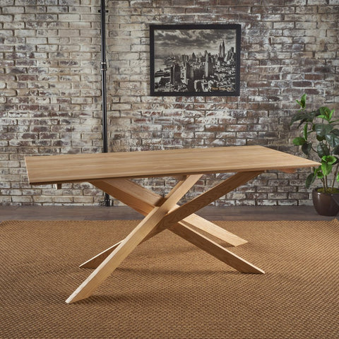 Mid Century Modern Natural Finished Wood Dining Table Ash Wood