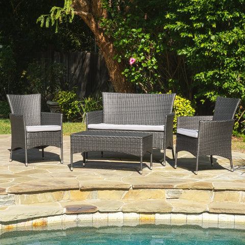4pc Outdoor Wicker Sofa Set W/ Cushions in Gray