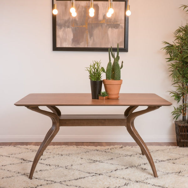 Natural Walnut Finish Wood Dining Table