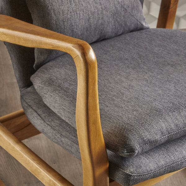 Mid Century Modern Dark Slate Fabric Ing Chair