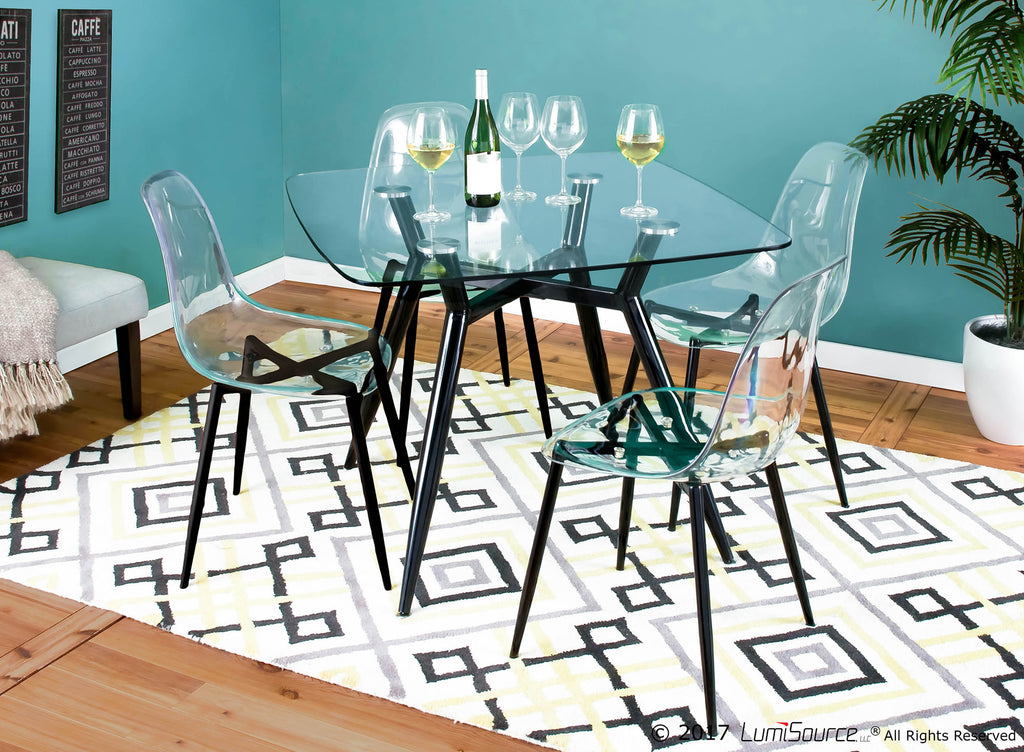 Miraculous Clara Mid Century Modern Dining Chair In Black Or Walnut And Clear Set Of 2 Ncnpc Chair Design For Home Ncnpcorg