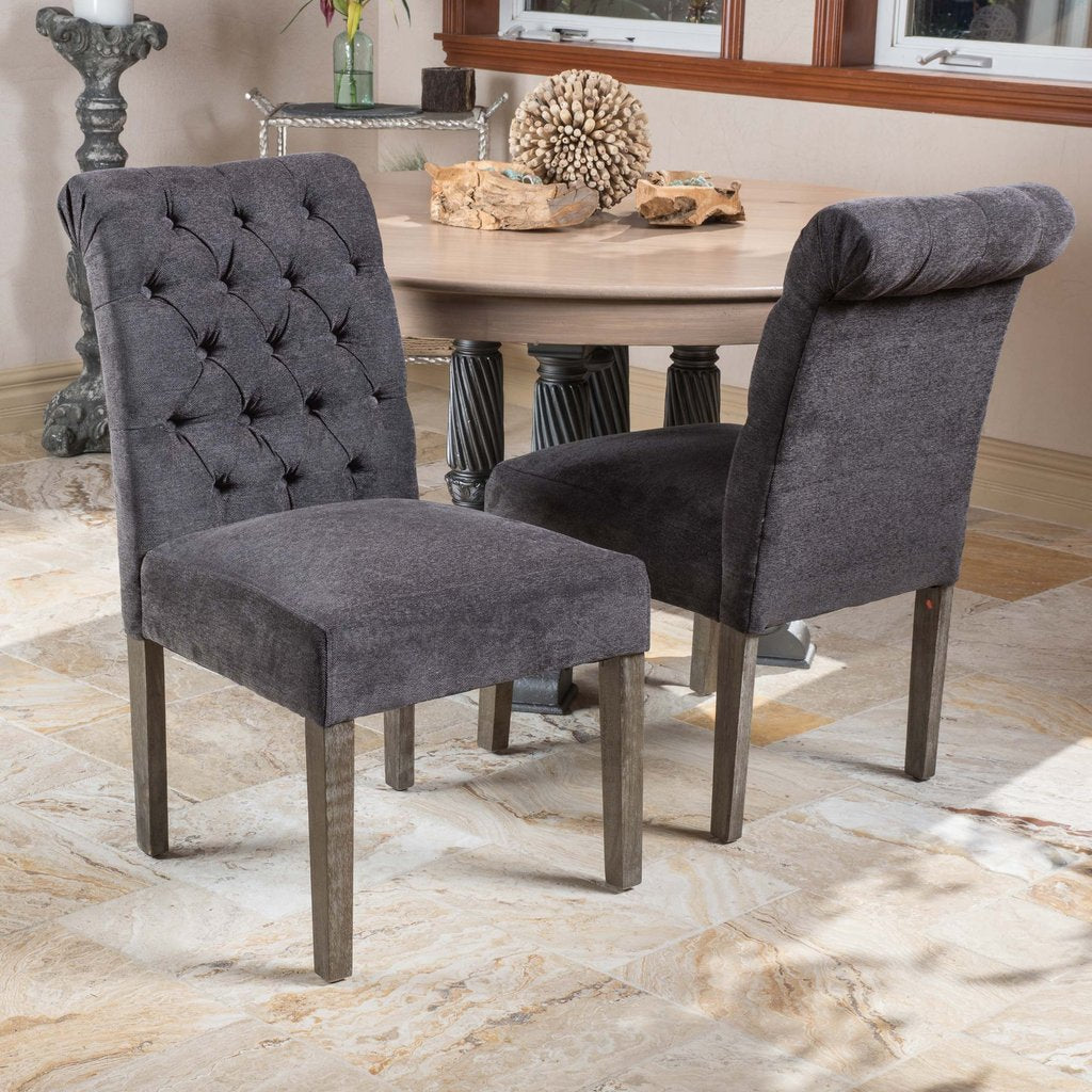 Mayo Linen Dining Chair (Set Of 2) Dark Grey or Ivory