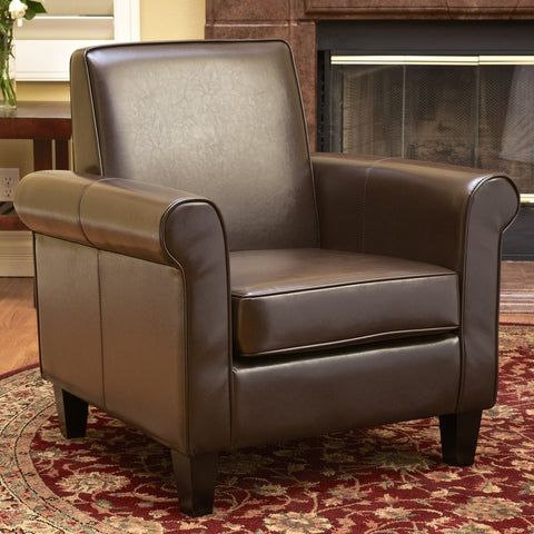 Ashley Arm Chair in Bonded Leather Black/ Brown