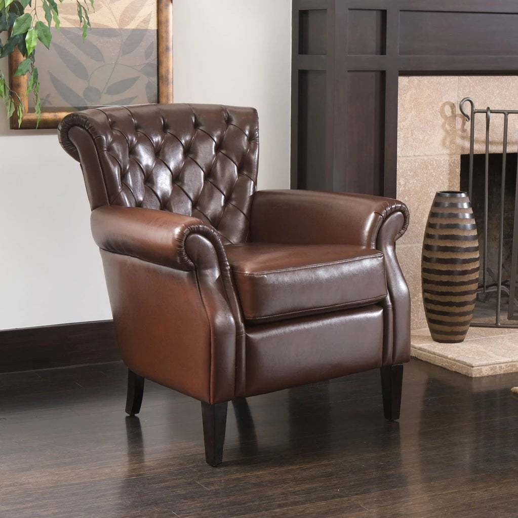 Ella Brown Tufted Bonded Leather Club Chair
