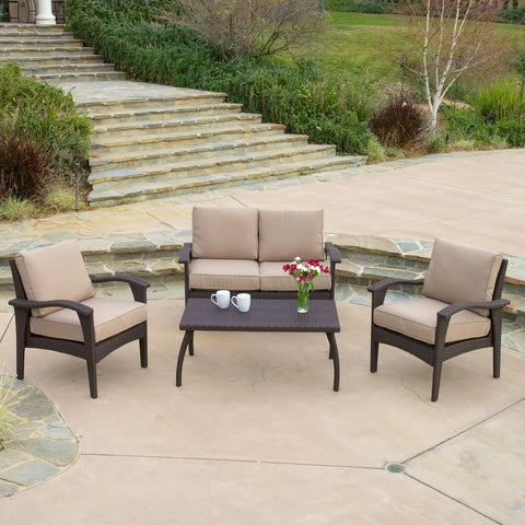 4pc Outdoor Wicker Sofa Set in Brown or Gray