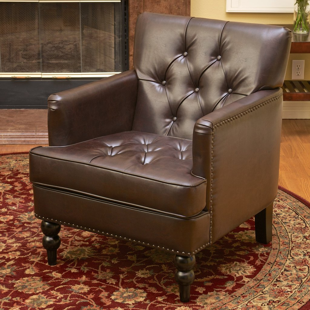 Brandon Bonded Leather Club Chair In Brown