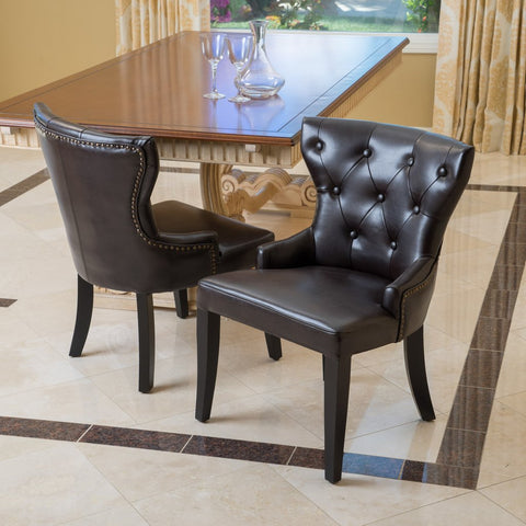 Alissa Leather Accent Chairs (Set Of 2) in Brown Bonded Leather