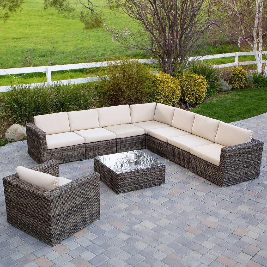 9pc Outdoor Sectional Sofa Set W/ Sunbrella Cushions