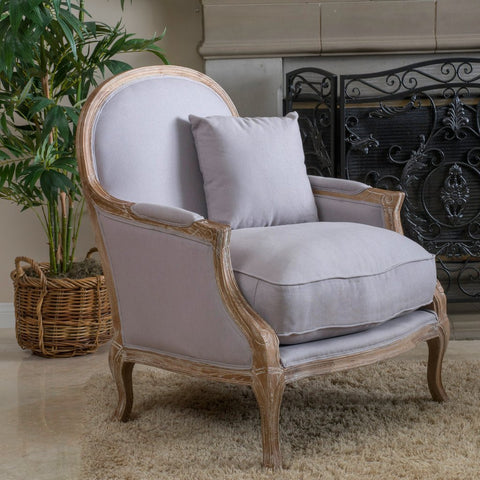 Baker Weathered Hardwood Fabric Arm Chair