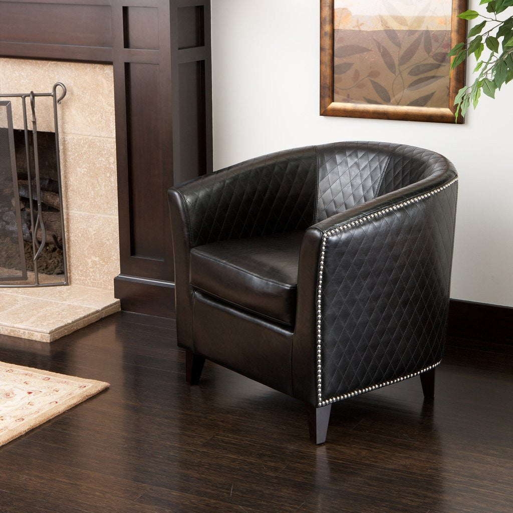 Bowman Bonded Leather Quilted Club Chair In Black Or Ivory U2013 MCM Classics
