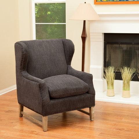 Benton Dark Grey Fabric Wingback Arm Chair