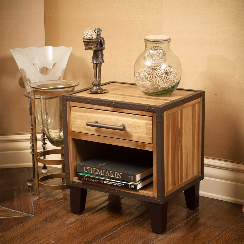 Industrial Solid Wood Single Drawer End Table Nightstand