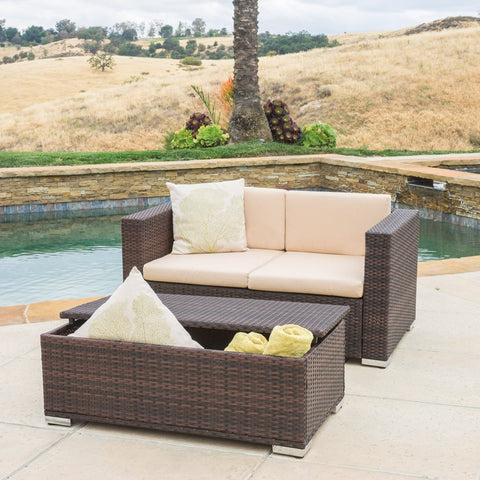 2pc Outdoor Wicker Love Seat & Table Set, Brown or Grey