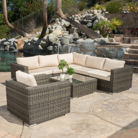 7pc Outdoor Wicker Seating Sectional Set W/ Sunbrella Cushions