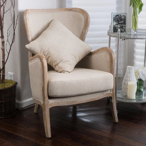 Bright Beige Fabric Wing Arm Chair