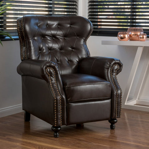 Garrison Brown Bonded Leather Recliner Club Chair