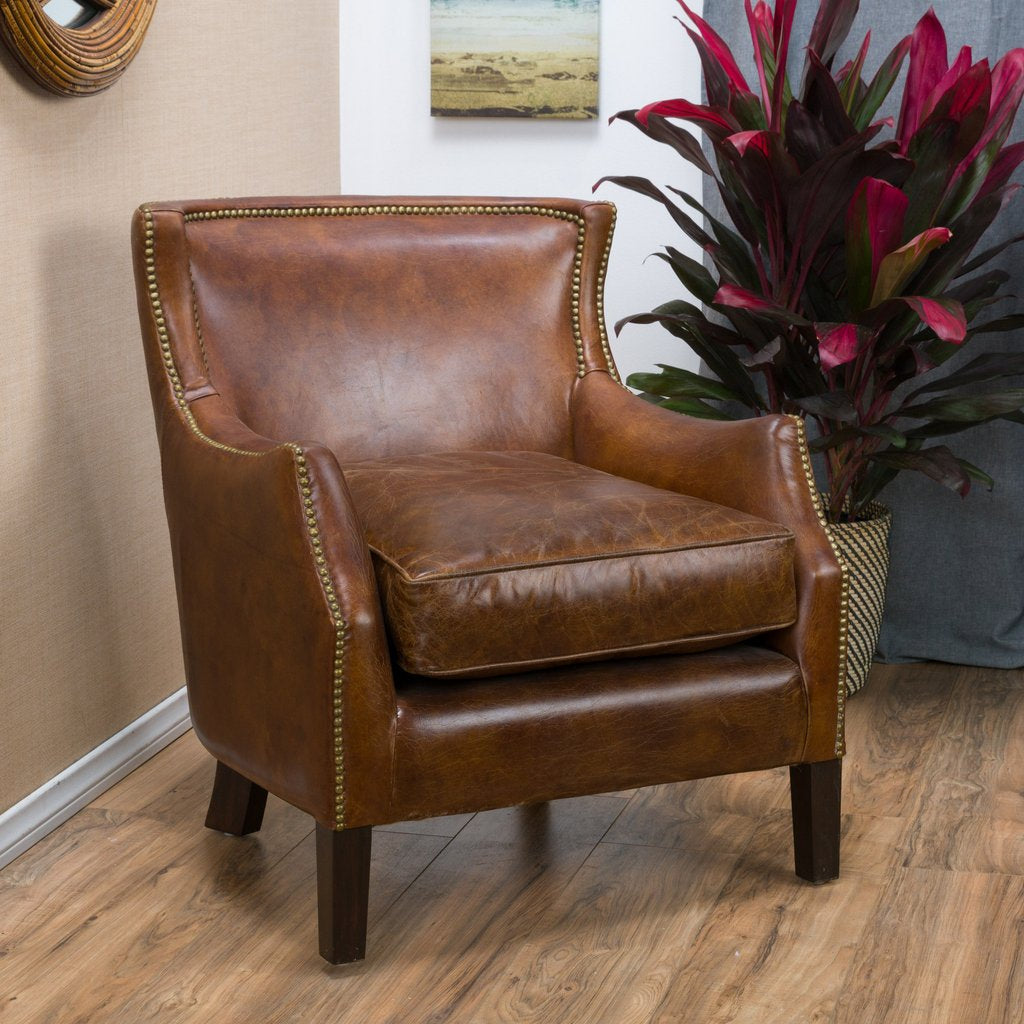 Cool Foley Top Grain Distressed Leather Club Chair In Brown Camellatalisay Diy Chair Ideas Camellatalisaycom