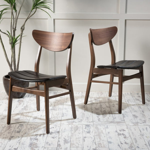 Durham Scandinavian Design Dining Chairs (Set Of 2) in Black and Walnut finish
