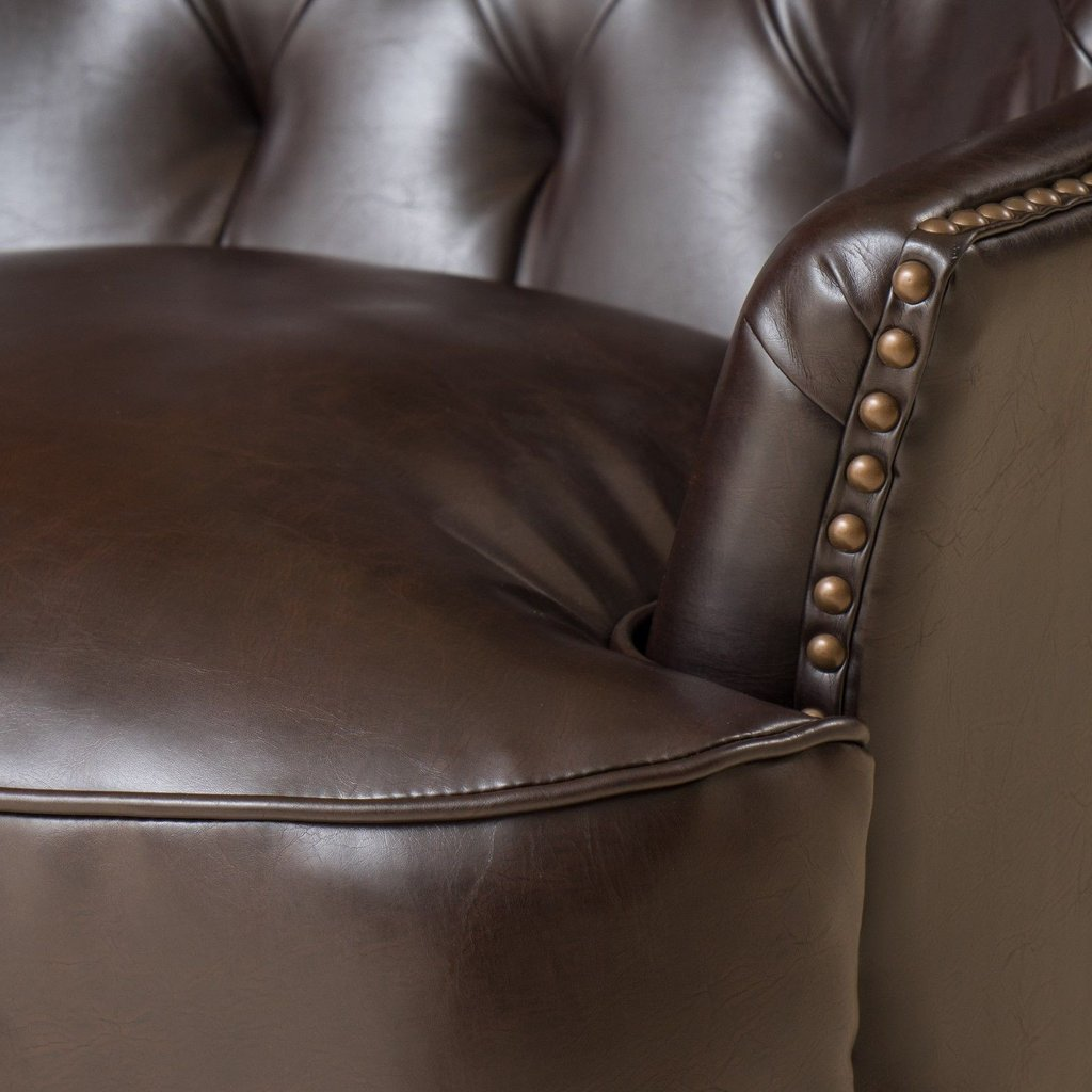... Brandy Bonded Leather Club Chair In Brown