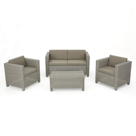 4Pc Wicker Chat Set W/ Water Resistant Cushions & Set Cover