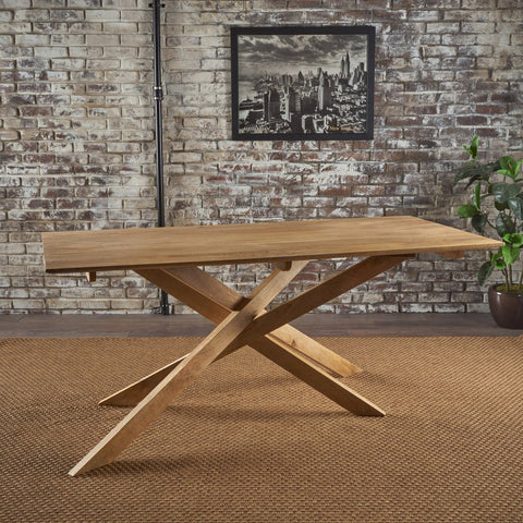 Mid Century Modern Natural Finished Wood Dining Table Mango Wood