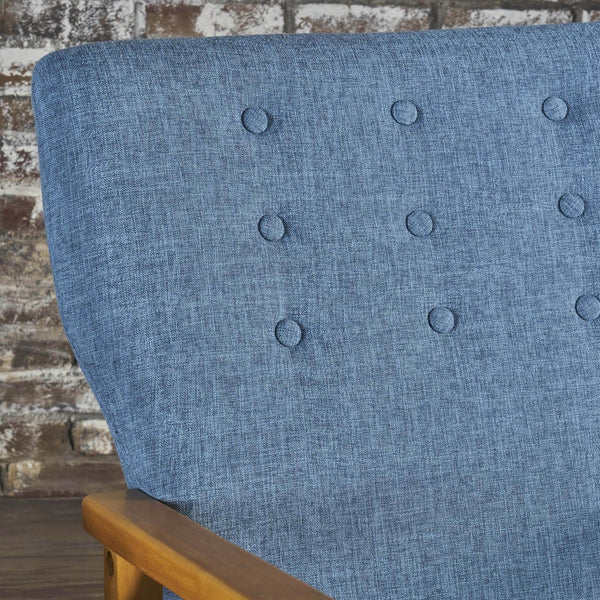 Mid Century Modern Fabric Ing Chair in Gray or Blue
