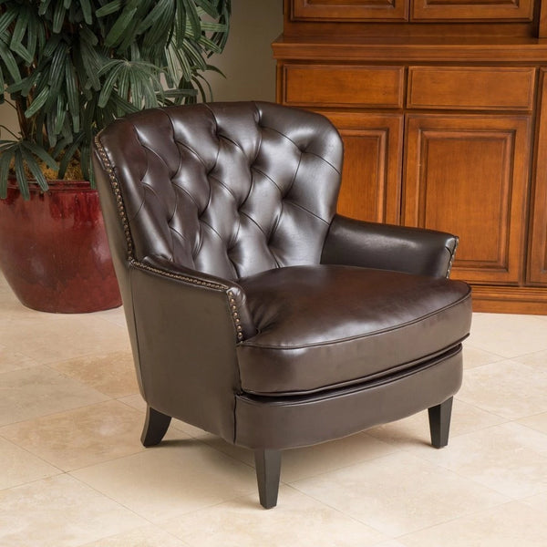 Brandy Bonded Leather Club Chair in Brown