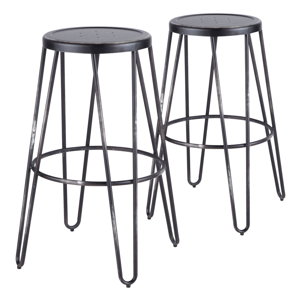 Avery Industrial Metal Barstool in Vintage Black  - Set of 2