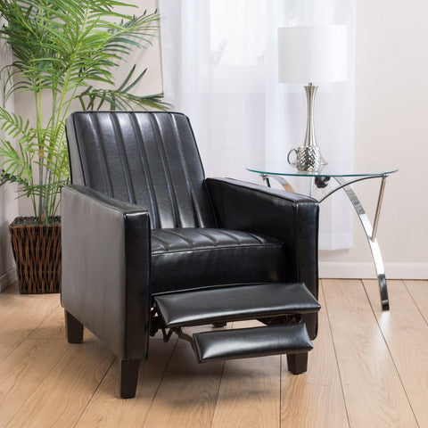 Byrd Recliner Chair in Black Vinyl or Cream Fabric