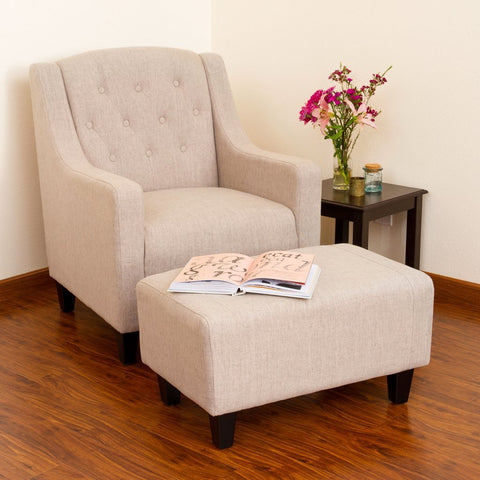 May Fabric Club Chair with Ottoman/Footstool