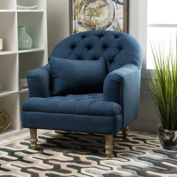 Caldwell Tufted Fabric Arm Chair in Many Color Options