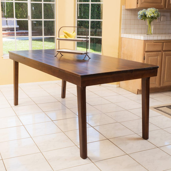 "Contemporary Mahogany Wood Finish Dining Table 70.07""L x 34.64""W x 29.33""H"