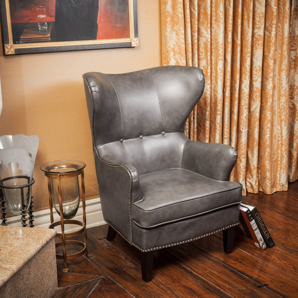 Dalton Brown or Charcoal PU Leather Wingback Club Chair
